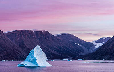 Iceberg Sunset - Greenland Photograph Poster