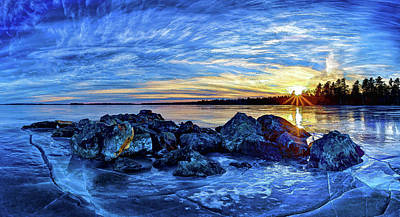 Icebound Sunset Poster by ABeautifulSky Photography