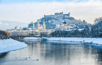 Icecold View Of Salzburg Skyline Poster by JR Photography