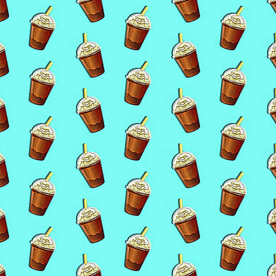 Iced Coffee To Go Pattern Poster by Little Bunny Sunshine