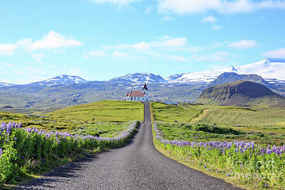 Poster featuring the photograph Iceland Church At The End Of A Long Road by Edward Fielding