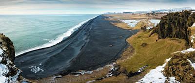 Iceland Coast And Black Beach Panorama Poster