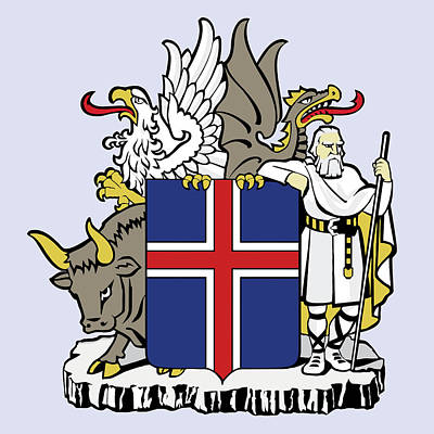 Poster featuring the drawing Iceland Coat Of Arms by Movie Poster Prints