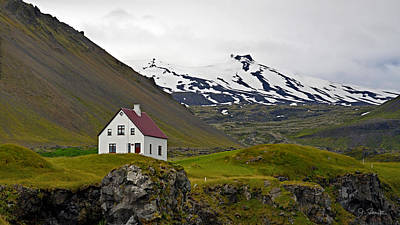 Poster featuring the photograph Iceland House And Glacier by Joe Bonita