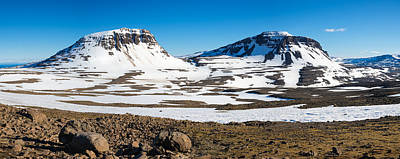 Iceland Snow-covered Mountains Panorama Poster
