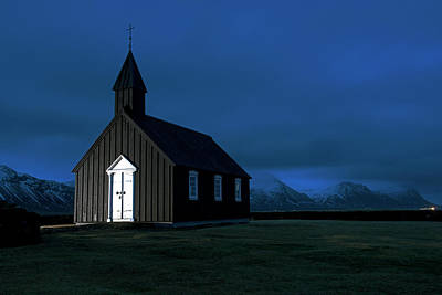 Poster featuring the photograph Icelandic Church At Night by Dubi Roman