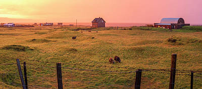 Poster featuring the photograph Icelandic Farm During Sunset by Brad Scott