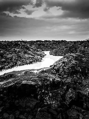 Icelandic Silica Stream In Black And White Poster