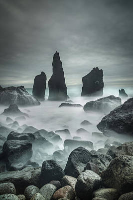 Icelandic Storm Beach And Sea Stacks. Poster by Andy Astbury
