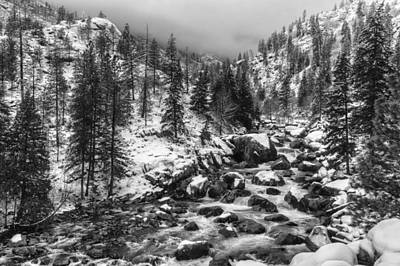 Icicle Creek Black And White Poster