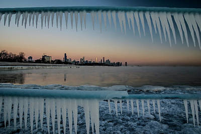 Icicles And Chicago Skyline Poster by Sven Brogren