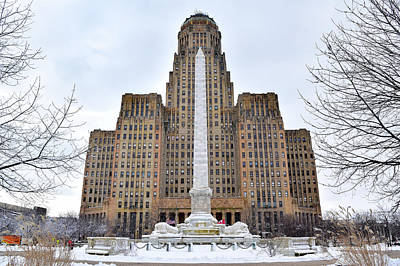 Iconic Buffalo City Hall In Winter Poster