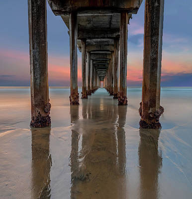 Iconic Scripps Pier Poster by Larry Marshall