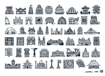 Icons Of Indian Architecture Poster