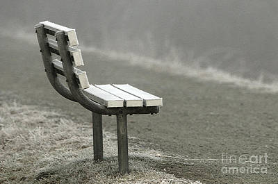 Icy Bench In The Fog Poster