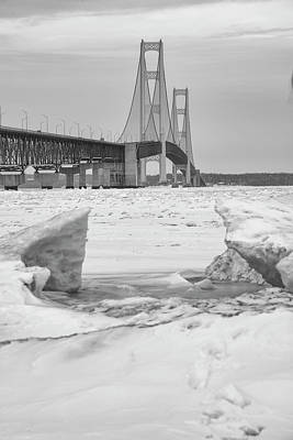 Poster featuring the photograph Icy Black And White Mackinac Bridge  by John McGraw