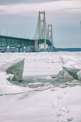 Poster featuring the photograph Icy Day Mackinac Bridge  by John McGraw