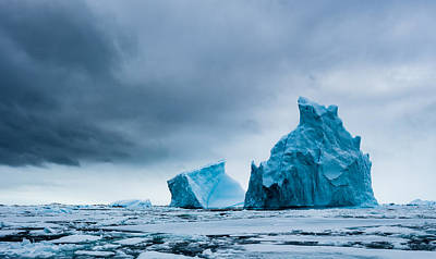 Icy Monoliths - Antarctica Iceberg Photograph Poster by Duane Miller