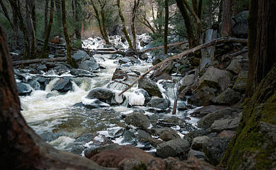 Icy River Below Bridalveil Yosemite California Poster