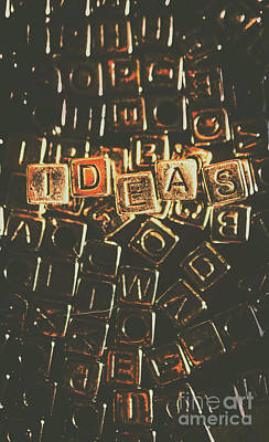 Ideas Letterpress Typography Poster by Jorgo Photography - Wall Art Gallery