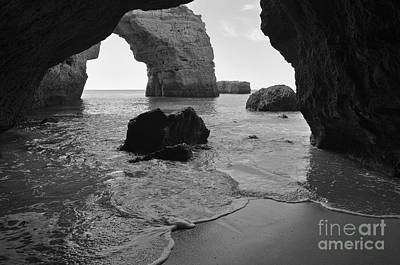 Idyllic Cave In Monochrome Poster