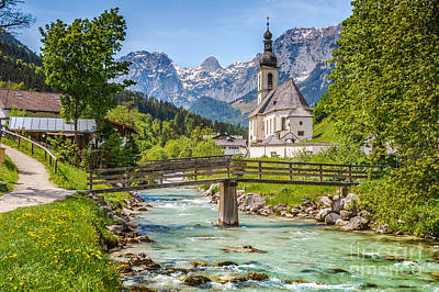 Idyllic Church In The Alps Poster by JR Photography