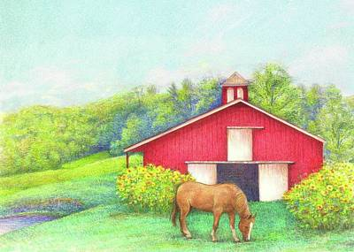 Idyllic Summer Landscape Barn With Horse Poster