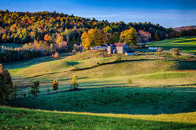 Idyllic Vermont Farm On A Hill Poster by Jeff Folger
