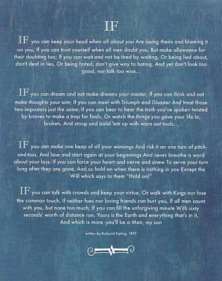 If By Rudyard Kipling Chalk Art On Blue Denim Poster