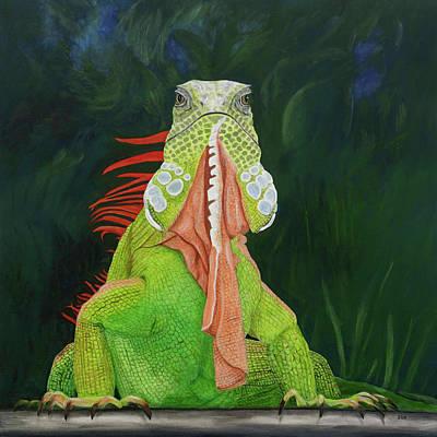 Poster featuring the painting Iguana Dude by Karen Zuk Rosenblatt