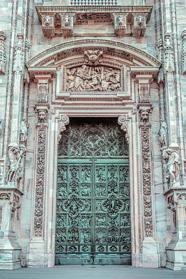 Il Duomo Portal Milan Italy Poster by Joan Carroll