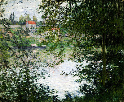 Ile De La Grande Jatte Through The Trees Poster by Claude Monet