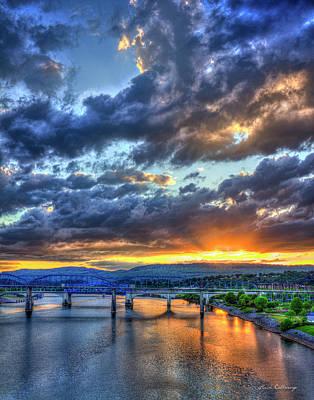 I'll Be Back Chattanooga Bridge Sunset Art Poster by Reid Callaway