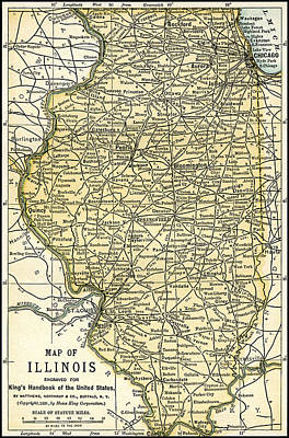 Illinois Antique Map 1891 Poster