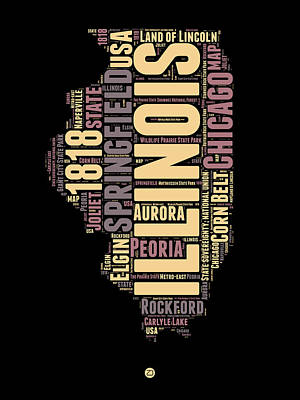 Illinois Word Cloud Map 1 Poster by Naxart Studio