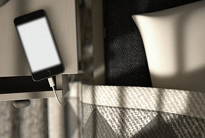 Illuminated Cellphone Next To Bed Poster