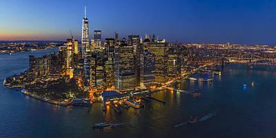 Illuminated Lower Manhattan Nyc Poster