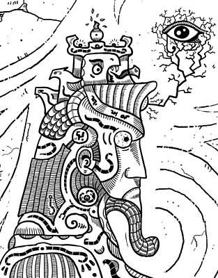 Surrealism Illuminati Black And White Poster