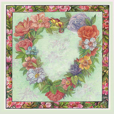 Illustrated Heart Wreath Poster