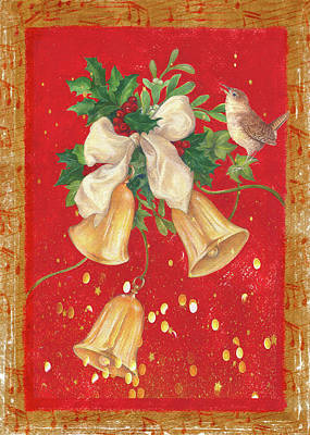 Illustrated Holly, Bells With Birdie Poster
