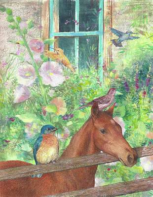 Illustrated Horse And Birds In Garden Poster