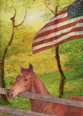 Illustrated Horse In Golden Meadow Poster