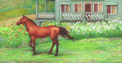 Illustrated Horse Summer Garden Poster