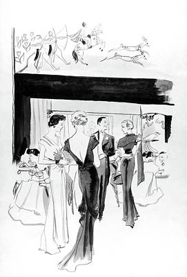 Illustration Of A Man And Women At The Plaza Poster