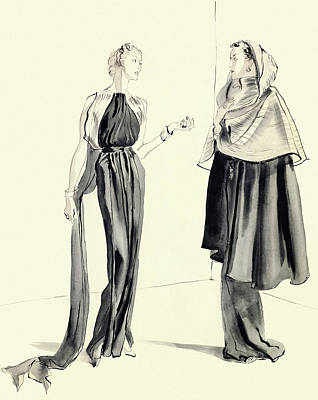 Illustration Of Two Women Poster