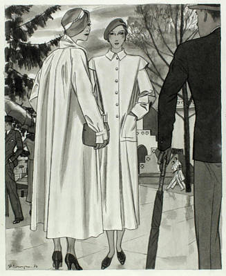 Illustration Of Two Women Wearing Coats Poster by Pierre Mourgue