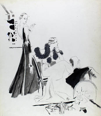 Illustration Of Women Wearing Evening Dresses Poster by Jean Pages