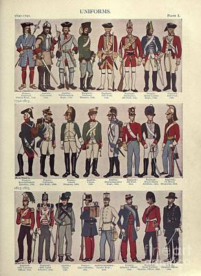 Illustrations Of Military Uniforms Poster