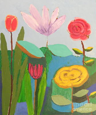 Poster featuring the painting Imagined Flowers One by Rod Ismay