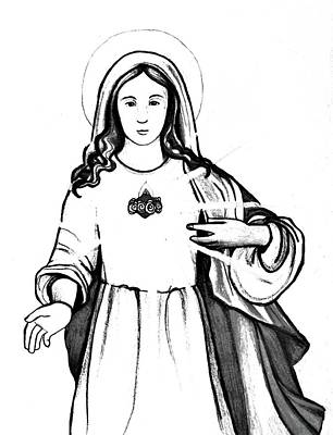 Immaculate Heart Of Mary Poster by Mary Ellen Frazee